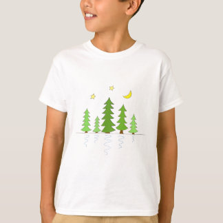 Midnight Forest with Trees Stars and Moon Tee Shirts