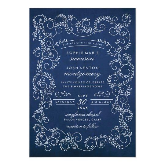 Midnight Garden Deep Blue White Wedding Invitation