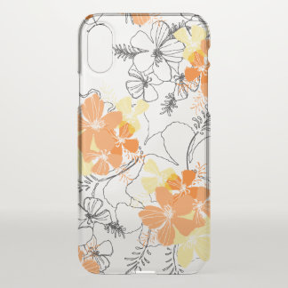 Midnight Garden Hawaiian Hibiscus Papaya iPhone X Case