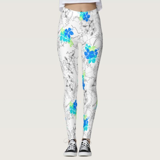 Midnight Garden Hawaiian Tropical Floral Leggings