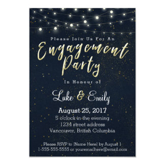 Midnight Glamour Engagement Party Card