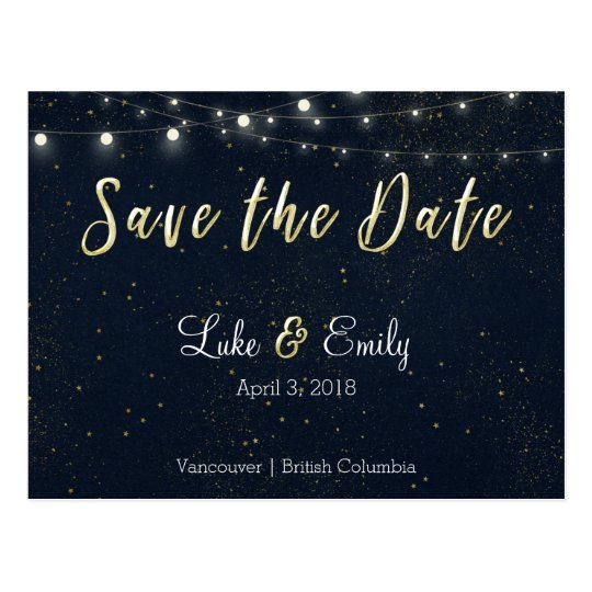 Midnight Glamour Save the Date Cards Postcard
