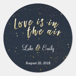 Midnight Glamour Wedding Round Sticker