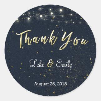 Midnight Glamour Wedding Thank You Round Sticker