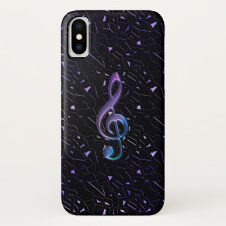Midnight Glitter Music Clef iPhone X Case