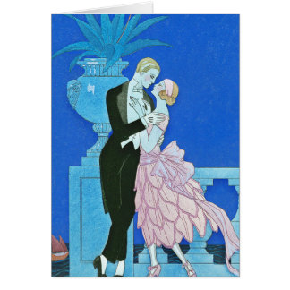 Midnight Kiss Art Deco Greeting Card