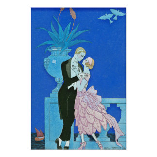 Midnight Kiss Art Deco Poster