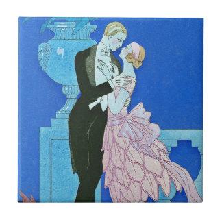 Midnight Kiss Art Deco Tile