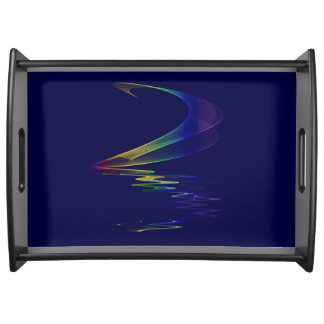 Midnight Lunar Moonbow Rainbow 'N Navy Abstract Serving Tray