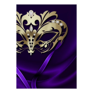 Midnight Masquerade Faux Jewel Purple Poster