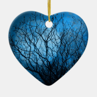 Midnight Moon Double-Sided Heart Ceramic Christmas Ornament