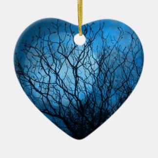 Midnight Moon Double-Sided Heart Ceramic Christmas Ornament