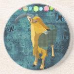 Midnight Moonlight Aoudad Art Coaster