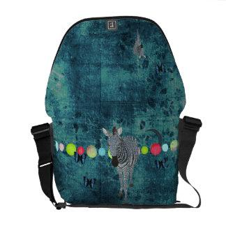 Midnight Moonlight Zebra Messenger Bag