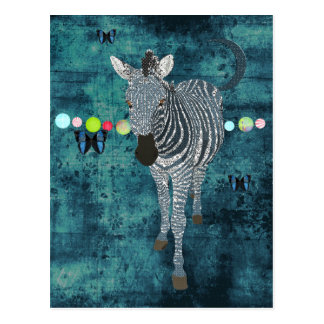 Midnight Moonlight Zebra  Postcard