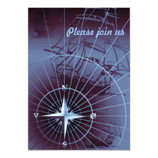 Midnight Nautical Compass Sailing Ships Personalized Invitation