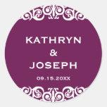Midnight plum Victorian scroll wedding favour labe Round Sticker