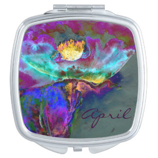 Midnight Poppy Monogram Makeup Mirror