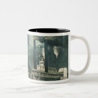Midnight Race on the Mississippi, 1875 Two-Tone Coffee Mug
