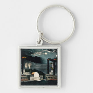 Midnight Race on the Mississippi Key Ring