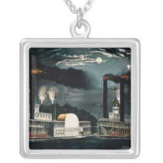 Midnight Race on the Mississippi Silver Plated Necklace