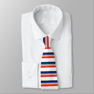 Midnight Royal Red Orange Copper and White Banded Tie