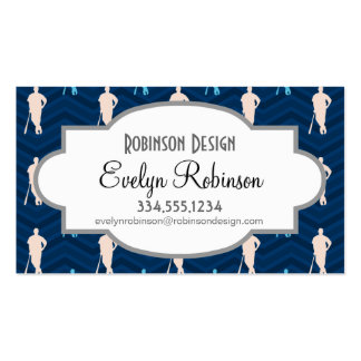 Midnight, Sky Blue, Tan, Baseball Chevron Double-Sided Standard Business Cards (Pack Of 100)