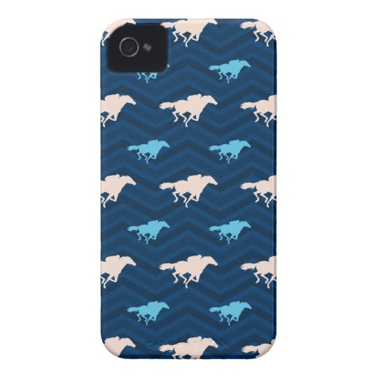 Midnight, Sky Blue, Tan, Horse Racing Chevron Case-Mate