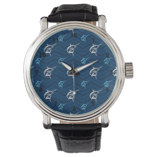 Midnight, Sky Blue, Tan, Saltwater Fishing Chevron Watch