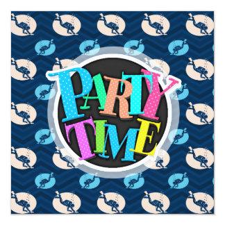 Midnight, Sky Blue, Tan, Scuba Diver; Diving 13 Cm X 13 Cm Square Invitation Card