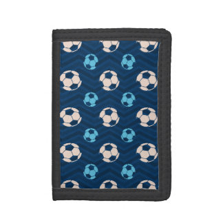 Midnight, Sky Blue, Tan, Soccer Ball Chevron Trifold Wallet