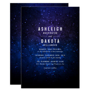 Midnight Sky & Shining Stars | Galaxy Wedding Card