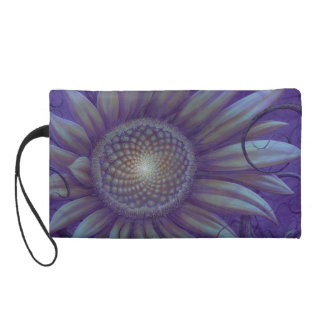 Midnight sunflower wristlet clutches