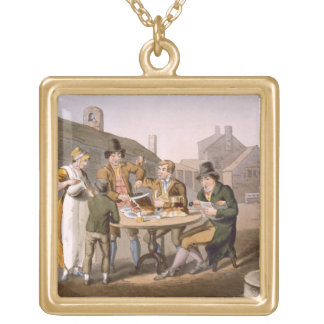 Midsummer Eve, from `Costume of Yorkshire' engrave Gold Plated Necklace