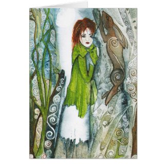 Midsummer Evening - Girl with Hare - Pagan Art Card