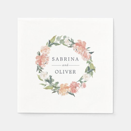 Midsummer Floral | Botanical Personalised Wedding Paper Napkin