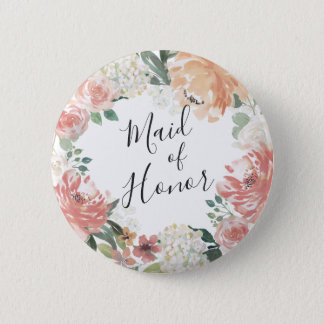 Midsummer Floral Maid of Honor 6 Cm Round Badge