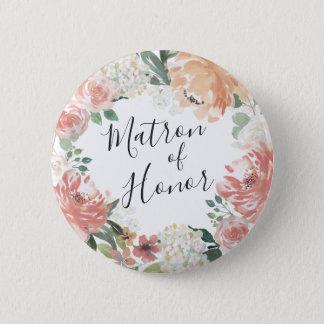 Midsummer Floral Matron of Honor 6 Cm Round Badge