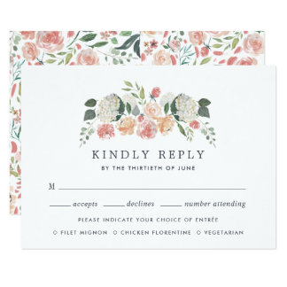 Midsummer Floral Meal Choice RSVP Card
