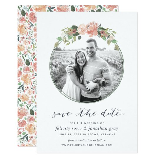 Midsummer Floral Photo Save the Date Card