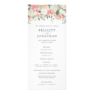 Midsummer Floral Wedding Ceremony Program Rack Card