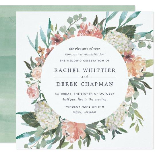 Midsummer Floral Wedding Invitation   Square