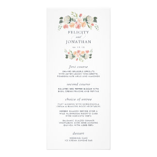 Midsummer Floral Wedding Menu Card