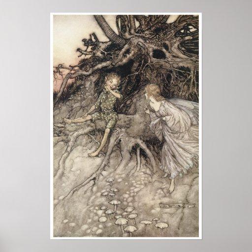 Midsummer Night's Dream Vintage Fairy Art Poster