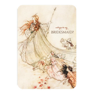 Midsummer Night's Dream Will You Be My Bridesmaid? 9 Cm X 13 Cm Invitation Card