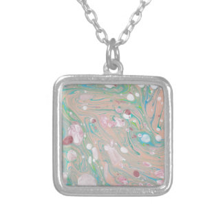 Midtone Hand crafted marble Paper Design Square Pendant Necklace