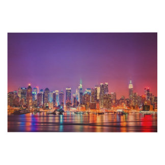 Midtown Manhattan at night with Empire Stae Wood Wall Art