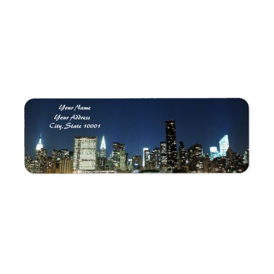 Midtown Manhattan skyline at Night Lights, NYC Return Address Label