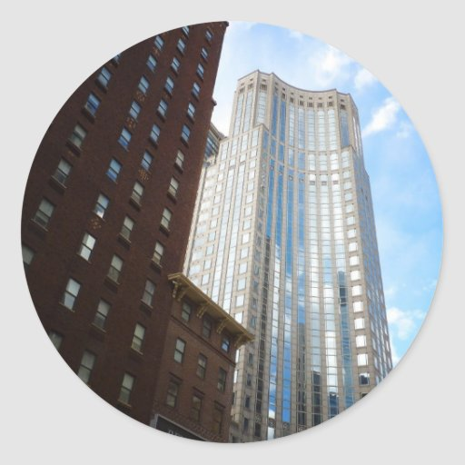 Midtown Skyscraper Reflection, New York City Round Sticker