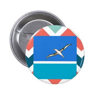 Midway Islands Flag Box on Colorful Chevron 6 Cm Round Badge